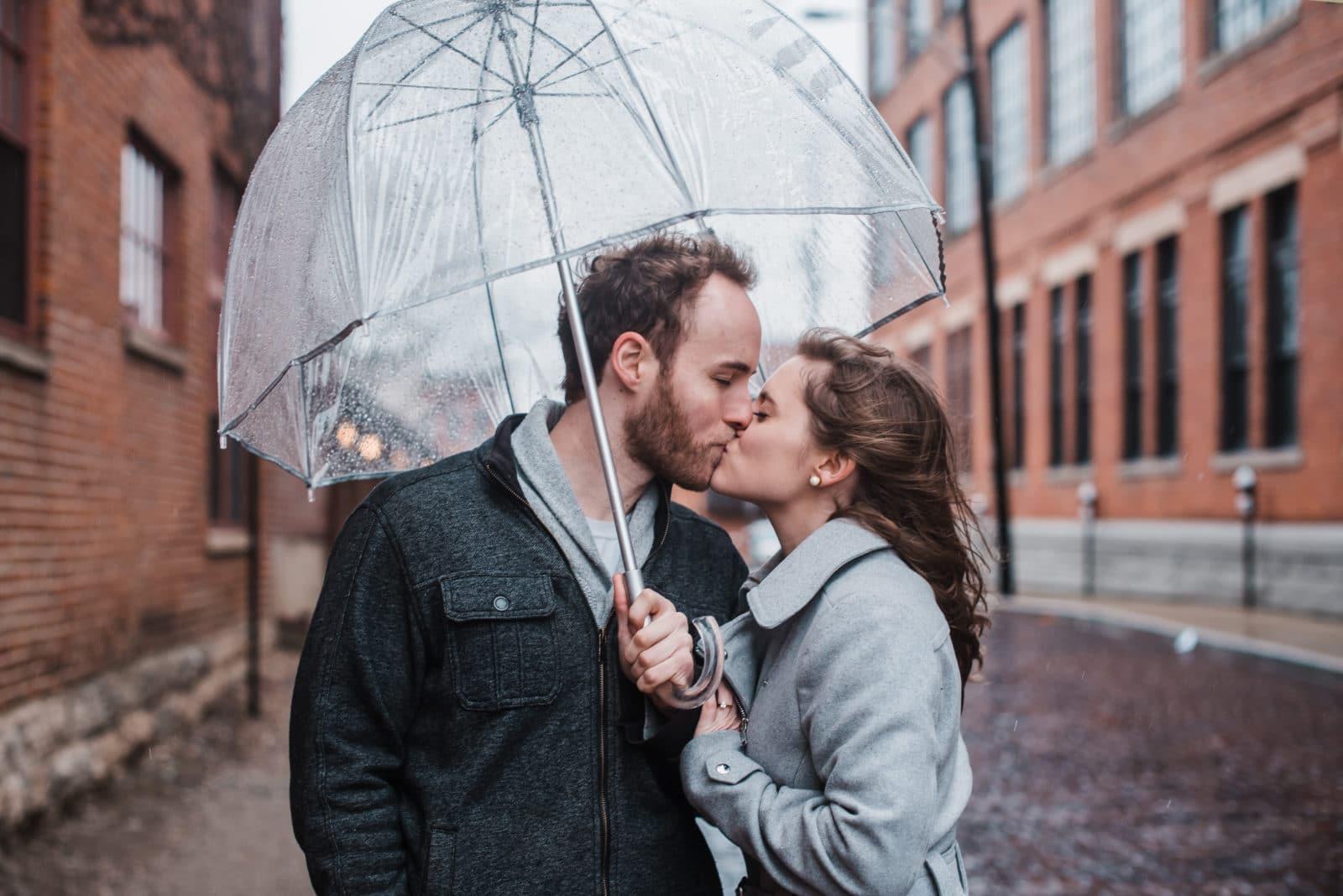 rainy engagement session